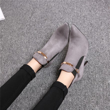查看女士鞋子女冬天靴子高跟鞋尖头细跟短靴2015冬季新款红色灰色加绒
