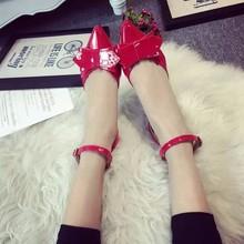查看夏季新款漆皮镂空细跟单鞋浅口平底尖头鞋蝴蝶结高跟一字扣凉鞋女