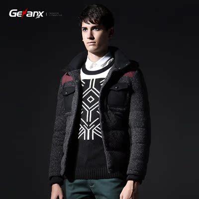 格男仕2015冬装新品男士短款连帽羽绒服男性加厚加大冬天外套青年