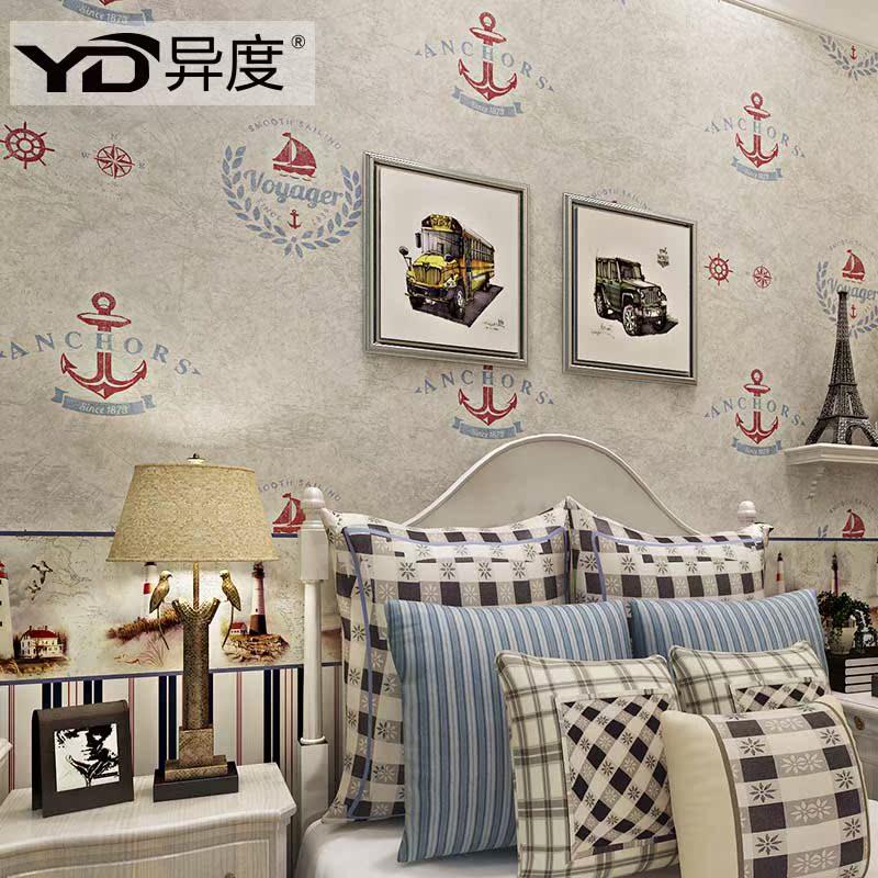 英伦地中海儿童房壁纸 男孩卧室ABC条纹搭配墙纸 环保无纺布墙纸