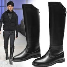 查看15新款男马靴男高筒靴长筒欧款舞步男靴军靴真皮马术靴冬季牛皮靴
