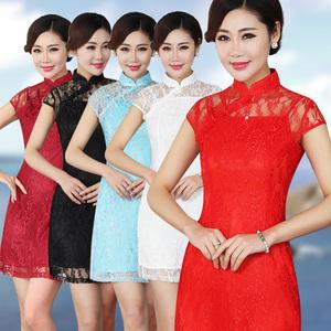 日常旗袍 改良时尚 夏装 蕾丝两件套复古 修身性感短款咏春舞蹈服
