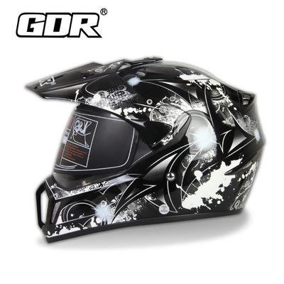 包邮gdr公路58cm镜片安全帽半盔两用赛车拉力摩托车头盔310黑橙花