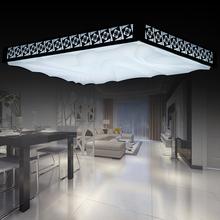 长方形客厅灯镂空雕花浮雕现代大气led吸顶灯简约时尚卧室书房灯