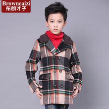童装男童呢大衣儿童呢子上衣韩版外套双排扣中长款夹棉加厚风衣潮