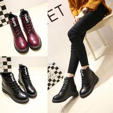 查看韩版冬季女鞋圆头平底英伦马丁靴女学院风加绒系带短筒靴子潮包邮