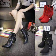 查看2015新款韩版细跟高跟女靴 性感尖头短靴皮带扣柳钉靴马丁靴