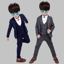 查看童装2015韩版男童春秋冬款西装套装儿童小西服马甲花童礼服三件套