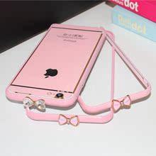 马卡龙粉色水钻边框iphone 6plus糖果色金属边框5.5手机边框潮粉