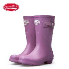 【预售】Rockfish2017秋冬季新款英伦中筒雨靴女 时尚雨鞋女水鞋