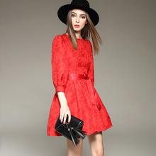 2017秋冬新款女装红色礼服七分袖蓬蓬裙 提花修身打底公主连衣裙