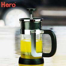 查看清仓 Hero宫廷法压壶 家用法式冲茶器泡咖啡壶 玻璃过滤杯 银色