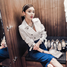 预售2017时尚百搭韩版潮流上衣双排扣西装领外衣秋冬女长袖GT2094