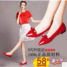 查看秋冬尖头红色平跟平底单鞋女鞋大码43 42蝴蝶结婚鞋小红鞋小码33