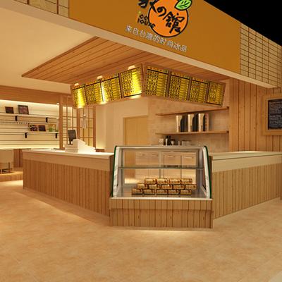 奶茶店/鲜果店/甜品店门面室内装修设计/效果图设计/方案设计