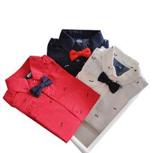 查看童装薄款纯棉红色衬衫儿童长袖领结衬衣宝宝礼服男童红衬衣春秋款