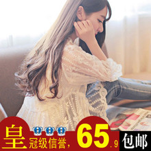 查看秋装上新2014韩版修身钩花镂空七分袖蕾丝衫女透视娃娃装上衣罩衫