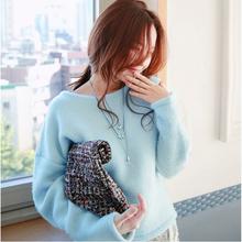 YOYLAP2017秋季新款女装韩版套头圆领T恤修身短款打底卫衣毛绒衫