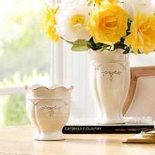 查看奇居良品 美式古典装饰花器花插浮雕波浪口白釉仿古陶瓷花瓶h