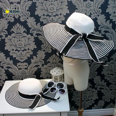 黑白遮阳帽夏季韩版亲子款遮阳沙滩帽大檐防晒韩国女童草帽儿童女