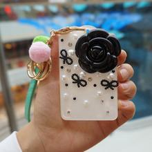 查看1个包邮韩国硬质双面亚克力公交卡套钥匙扣伸缩链挂绳珍珠山茶花