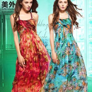 正品 100%重磅真丝桑蚕丝吊带长裙飘逸沙滩裙高档夏季露背连衣裙