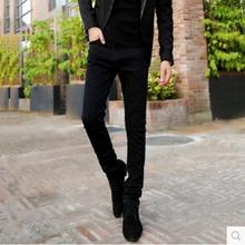 查看加绒加厚秋冬款韩版男士牛仔裤修身小脚裤细腿紧身黑色雪花潮显瘦