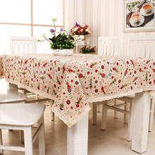 碎花清新布艺棉麻印花桌布茶几电脑床头柜可爱卡通亚麻居家餐桌布