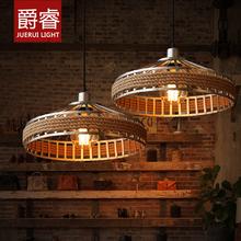 [爵睿]美式乡村吊灯复古创意客厅灯田园麻绳工业餐厅吊灯灯具9155