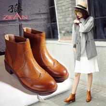 子藩2017新款牛皮粗跟女鞋复古英伦时尚擦色短靴子粗跟马丁靴