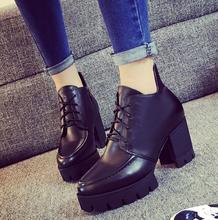 珂纳波尔2017新款英伦风马丁靴系带真皮粗跟短靴防水台单靴及踝靴
