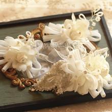 查看时尚新款韩式新娘头饰精美蕾丝水钻结婚饰品婚纱配饰头花三件套