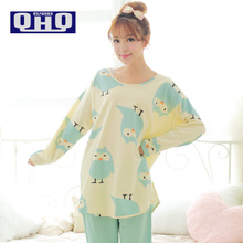 春秋季 纯棉长袖睡衣女 韩国可爱猫头鹰长袖家居服卡通套装