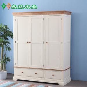 永益饰佳 纯实木衣柜三门大衣柜储物柜地中海衣柜简约实木家具价格: