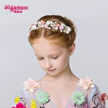 查看儿童发饰 花仙子女童发箍头饰 时尚陶瓷公主皇冠 儿童礼服配饰