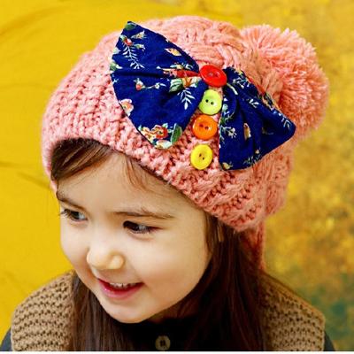 秋冬女宝宝1-2-4-8岁秋季新款儿童帽子冬季韩版女童公主毛线帽潮