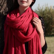 查看简臣韩国披肩两用棉麻围巾女士冬季长款春秋冬天围脖纯色百搭丝巾