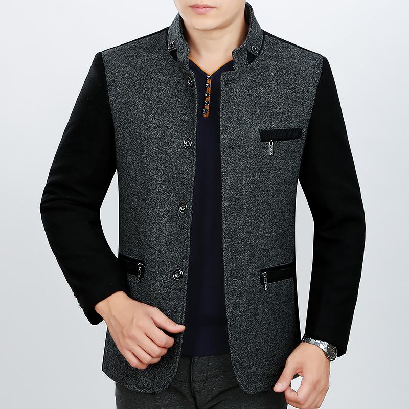 2015秋冬正品男装利郎羊毛呢夹克男外套中年时尚毛呢茄克衫爸爸装