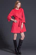 爵梵尼2017年秋冬羊毛呢外套红色大衣娃娃款圆领系带大衣欧洲站