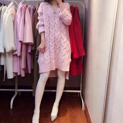 2015秋冬新款韩国东大门代购甜美可爱慵懒粉色前后V领毛衣连衣裙