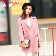 尚弗2017秋冬韩版修身双面呢大衣女中长款羊毛呢大衣双面绒外套