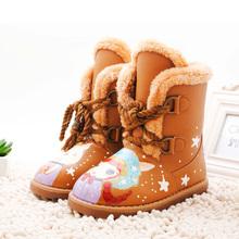 查看2015儿童雪地靴女加绒加厚中筒冬季女宝宝女童靴子冬款手绘童鞋
