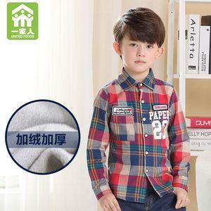 宝宝加绒衬衫 男童保暖上衣童装2015新款冬装 儿童格子衬衣厚长袖