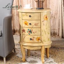 【丽卢】美式乡村田园彩绘做旧绿色黄色四斗床头柜 斗柜 储物柜