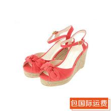 查看earth music日本代购15夏款丝带楔形凉鞋10152K11030
