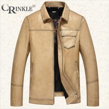 CRINKLE时尚进口头层牛皮男士真皮皮衣衬衫领直筒秋冬新款外套男