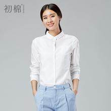 初棉女式秋纯棉长袖翻领bf风百搭宽松显瘦休闲加厚白衬衫衬衣外套