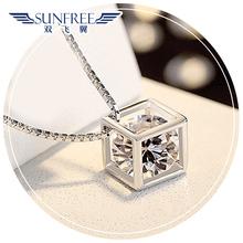 查看双飞翼S925纯银 爱情魔方钻石方形项链不掉色吊坠日韩版锁骨链女