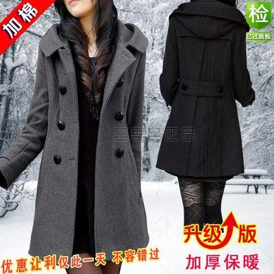 新款女毛呢外套韩版胖mm冬季大码修身显瘦长款加厚连帽双排扣风衣