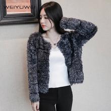查看2015秋冬季新款韩版短款长毛毛衣针织开衫加厚毛绒绒黑色短外套女